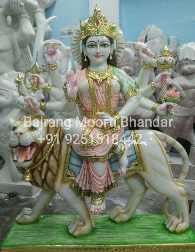 Marble Durga Ji Moorti Statue