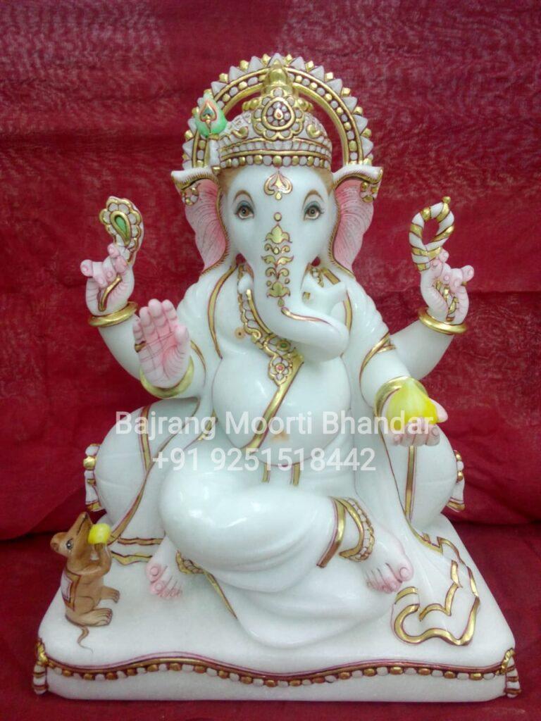 Marble Ganpati Statue in pure white Veitnam Marble