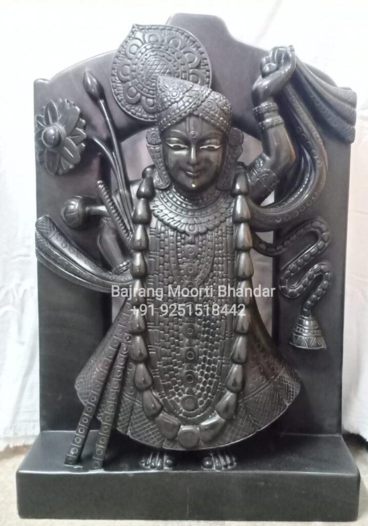 Shrinath Ji Murti in Black Marble Statue