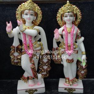 Pure white marble Radha Krshna Statue Murti