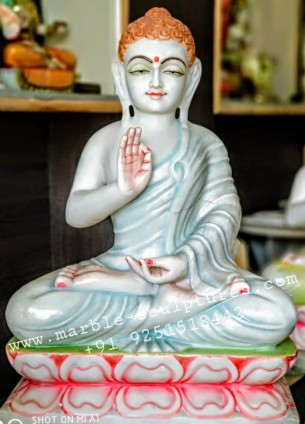 Colored marble buddha statue