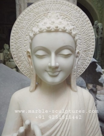face of white buddha statues