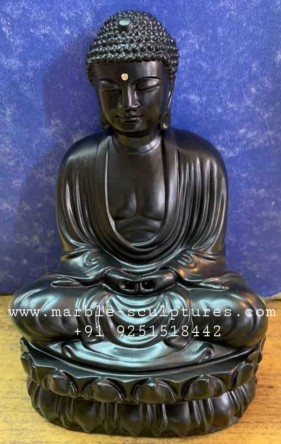 Meditation Black marble buddha statue