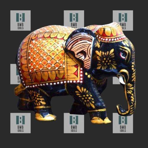 black painted elephant statue