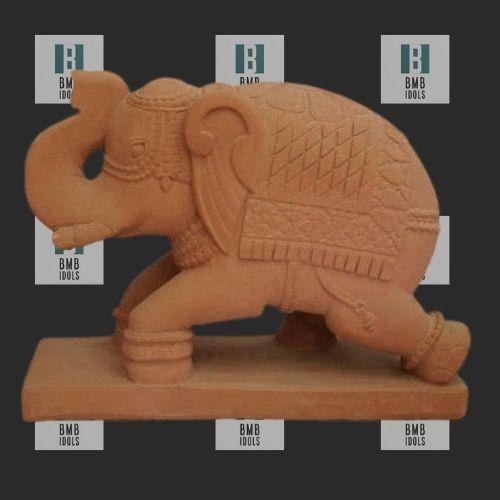 yellow sandstone elephant statues
