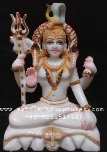 1.5 feet marble shiva statue