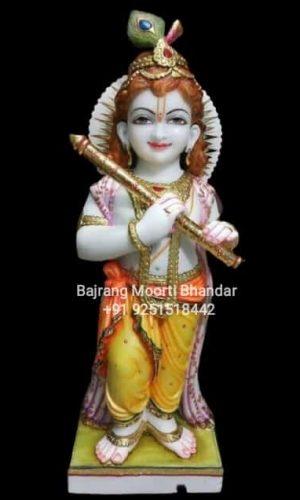 Standing Marble Kanha Krishna Statue