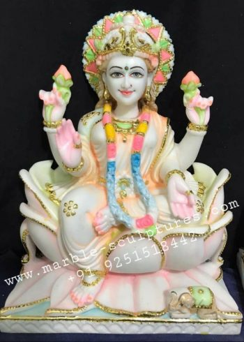 Colorful Marble Lakshmi Statue
