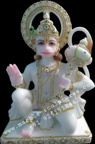 Goldwork hanuman marble murti