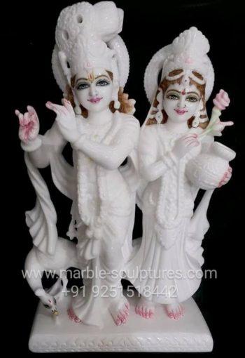 Handmade Marble Radha Krishna Murti
