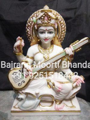 Whitw Marble sarswati Moorti