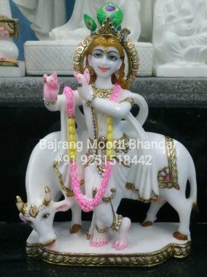 Krishna Ji with Cow In Marble
