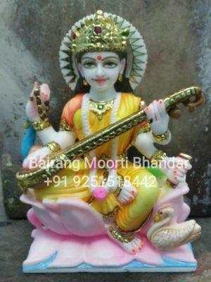 Small Sarswati Mata Statue Marble Murti