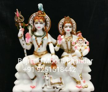 Shiv Parvati Statue with Family in marble Murti