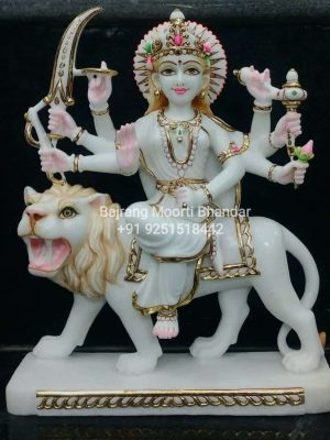 Marble Durga Mata Statue in 15inches