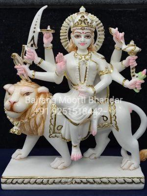 Marble Durga Mat Sattue in 12inch