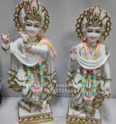 Small Radha Krishna Marble Murti