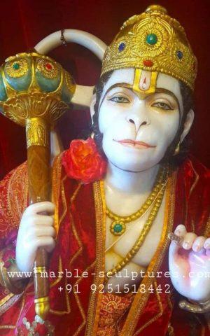 Face of marble hanuman statue