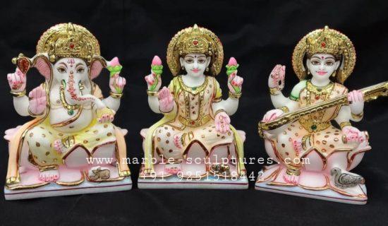 Marble Ganesh Lakshmi Saraswati Murti