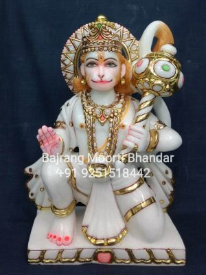 This is marble ashirwad hanuman statue in 15inches