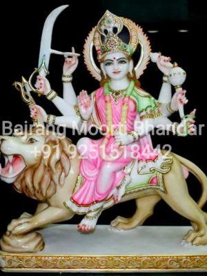 Marble Durga Mata Statue Full Painted