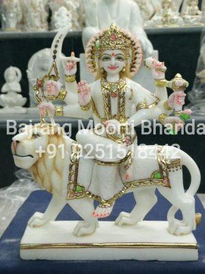 Marble Durga Mata Statue in 15inch