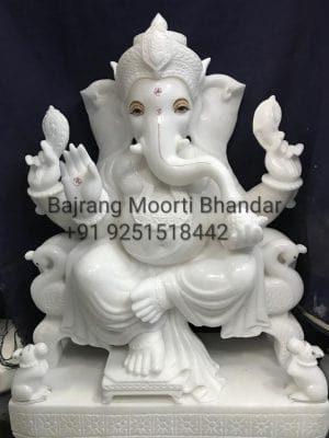Marble Ganesh Moorti in 2ft