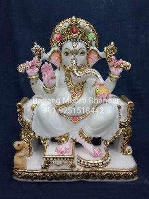 Marble Ganesh Statue vinayak in 12inch goldwork