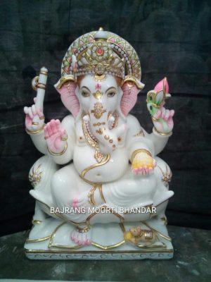 Marble Ganesh Murti on Lotus