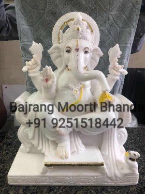 Marble Ganpati Statue in pure white marble