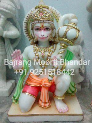 marble Hanuman Statue Moorti in 12inch