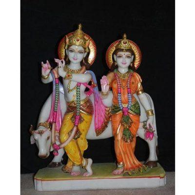 marble radha krishna statue with Cow