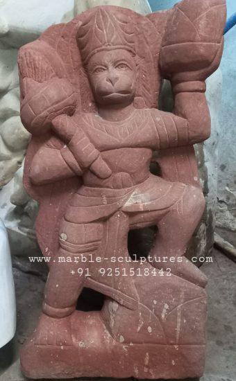 Marble red stone hanuman statue