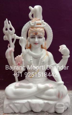Pure white marble shiv murti