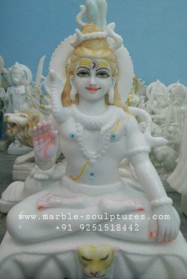 pure white Shiva marble statue