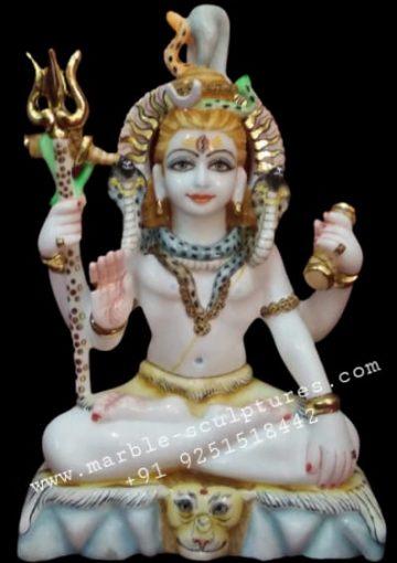 small marble painted shiva murti