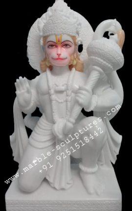 White Hanuman Marble Idol