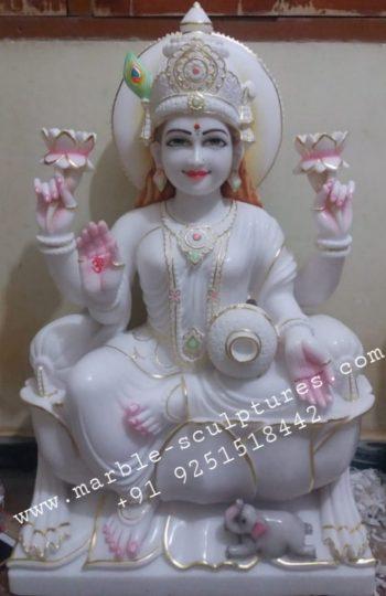 white lakshmi marble statue